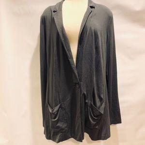 J jill open knit cardigan, collar, pockets size M